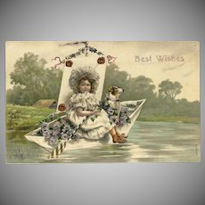 Embossed Best Wishes Postcard of Young Girl with her Dog in Boat