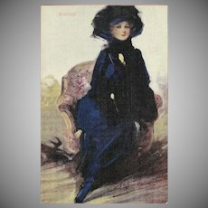 William Barribal Vintage Postcard of Beautiful Lady Titled Waiting