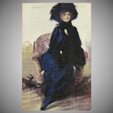 William Barribal Vintage Postcard of Beautiful Lady Titled Waiting