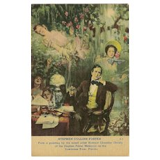 Curteich Art Colortone Postcard of Stephen Foster Painting by Christy