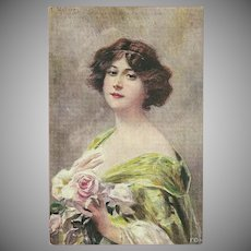 Vintage Franz Wobring Postcard of Lovely Lady