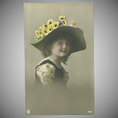 German Tinted Photo Postcard with Young Girl in Wide Brim hat