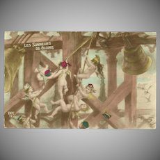French Tinted Postcard of Cherubs Ringing Bells by Albert Beerts 1915