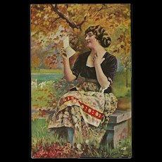Vintage German Postcard of Lady Reading Love Letter