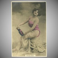 Undivided French Tinted Photo Postcard of Lady with Tambourine