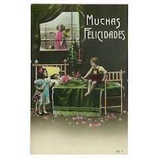 Italian Christmas Tinted Photo Postcard 1921