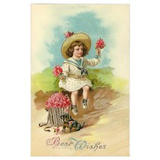 Vintage Glossy Embossed Postcard of Young Child with Puppy - Best Wishes