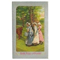 Vintage Postcard of Three Women - Faith, Hope & Charity