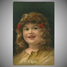 Vintage Artist Signed German Postcard of Young Girl with Red Ribbons
