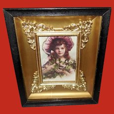 Small Shadow Box Frame with 1913 James Arthur Print of Young Girl