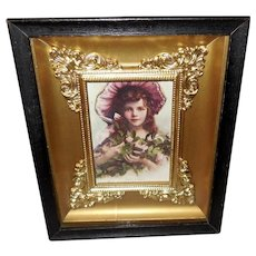 Small Shadow Box Frame with 1913 Print of Young Girl