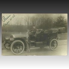 Real Photo 1908 Postcard of Old Car