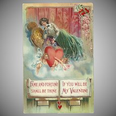 Embossed Early 1900's Valentine Postcard with Lovely Lady and Cherubs