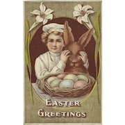Advertising 1910 Easter Postcard of The Tip Top Boy with Rabbit