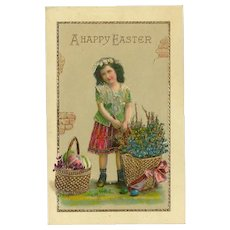 Vintage Gel Easter Postcard with Young Girl with Baskets