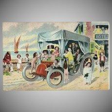 Vintage Fantasy Postcard of Babies in Car on Beach