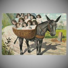 Vintage Fantasy Postcard of Babies in Basket on Donkey or Burro