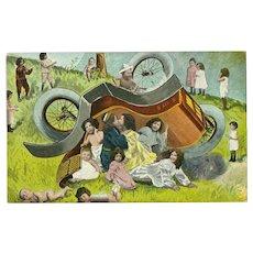 Fantasy Babies 1905 Postcard - Overturned Car