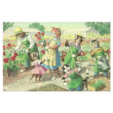 Mainzer Dressed Cats Postcard - Gardening - Red Tag Sale Item