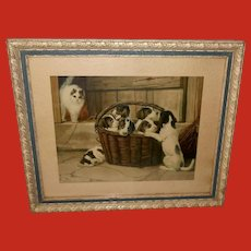 Vintage Print of Basket of Puppies with Startled Cat by Howard
