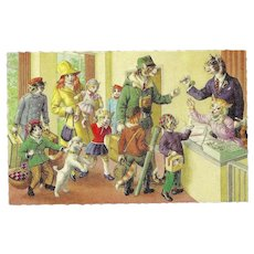 Mainzer Dressed Cats Postcard - Checking into Hotel - Red Tag Sale Item