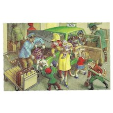 Mainzer Dressed Cats Postcard - Arriving in Taxi