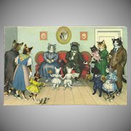 Max Kunzli Dressed Cats Postcard by Mainzer - Visiting Grandparents