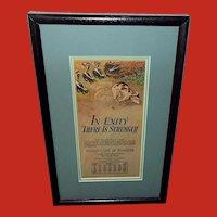 Milo Winter April 1928 Aesop Advertising Calendar of Dog with Skunks