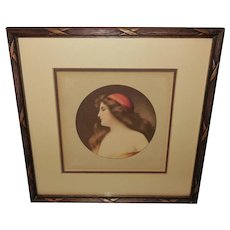 Angelo Asti Vintage Print of Beautiful Art Nouveau Style Lady with Red Hat
