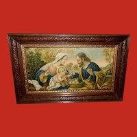 Holy Family Vintage Print in Carved Wood Frame