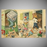Max Kunzli Dressed Cats Postcard Moving Day
