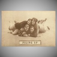 Sepia Romantic Football Postcard Early 1900's - Piling Up - 1 of 8