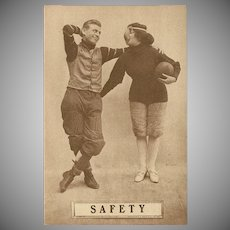 Sepia Romantic Football Postcard Early 1900's - Safety - 2 of 8
