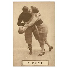 Sepia Romantic Football Postcard Early 1900's - A Punt - 3 of 8