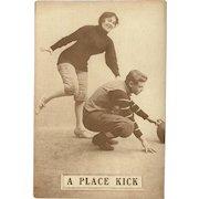 Sepia Romantic Football Postcard Early 1900's - A Place Kick - 4 of 8