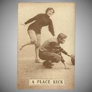 Sepia Romantic Football Postcard Early 1900's - A Place Kick - 4 of 8
