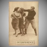 Sepia Romantic Football Postcard Early 1900's - Interference - 6 of 8