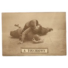 Sepia Romantic Football Postcard Early 1900's - A Touchdown - 7 of 8