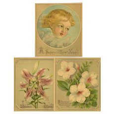 Three Small Unframed Chromolithographs - Christmas, Easter, New Years