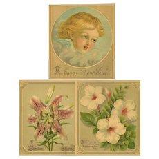 Three Small Unframed Chromolithographs - Cherub and Flowers
