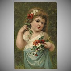Lovely 1908 Postcard of Young Girl with Flowers
