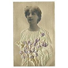 Embossed Vintage Photo Postcard of Woman