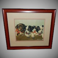 Vintage Print of Three Happy Puppies