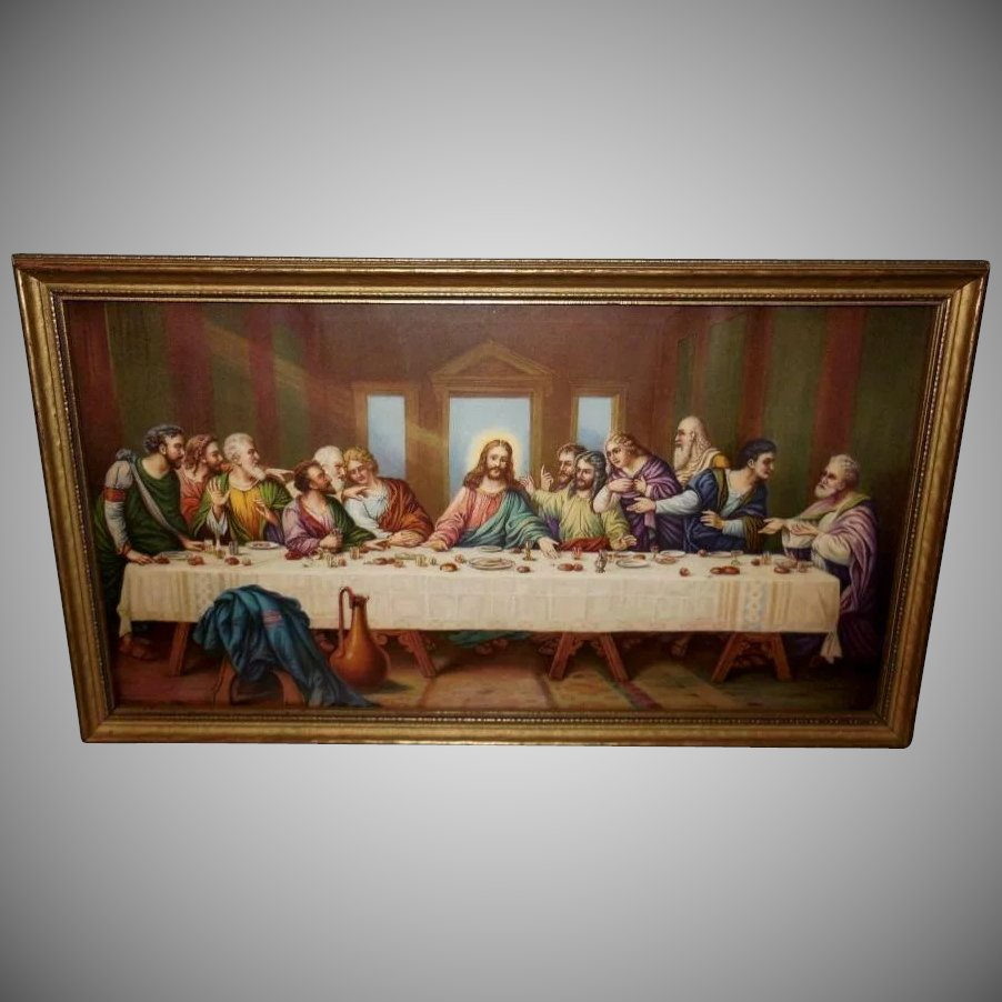 The Last Supper Vintage Print In Gold Wood Frame Pearl S