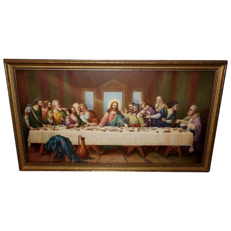 The Last Supper Vintage Print In Gold Wood Frame Red Tag Sale Item