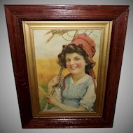 Vintage Print of Farm Girl - Harvest Days