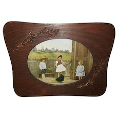 Vintage Photo Print of Three Children with Hen and Chicks Embellished Frame