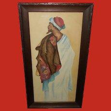 Folk Art of Middle Eastern Man Dated 1914