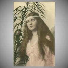 Vintage Photo Postcard of Lovely Long Haired Lady in Pink