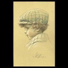 Henri Vincent Anglade Vintage Postcard of Young Boy